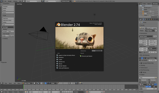 Blender 2.74 interface